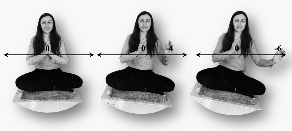 Series of three images a woman sitting cross-legged on balance board. in the first, both hands are together at midline and board is horizontal. second, left hand somewhat extended right remains 0 tilts slightly left. third, further 0, tilted to